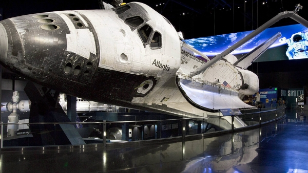 Atlantis with custom glass by Poma at the Kennedy Space Center.