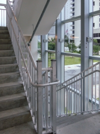 Interior rail design and fabrication for the Courthouse Center Parking Garage.