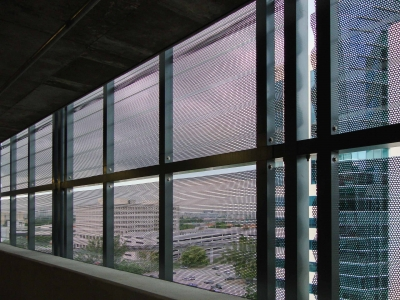 Interior view of the Courthouse Center Parking Garage custom screen facade.