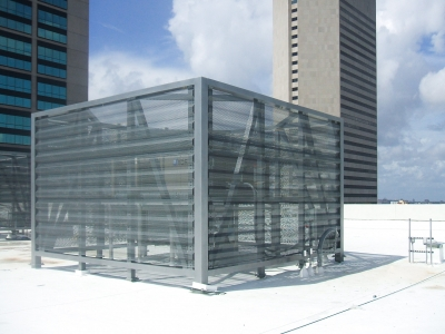 Rooftop mechanical enclosure for the Courthouse Center Parking Garage.