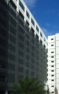 Custom perforated parking facade for the Courthouse Center Parking Garage.