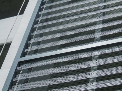 Detail of the parking facade for the Courthouse Center Parking Garage.