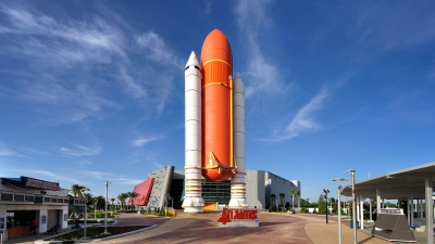 Exterior and signage of the Kennedy Space Center.