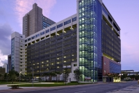 Courthouse Center Parking Garage in downtown Miami with custom-fabricated screen facade.