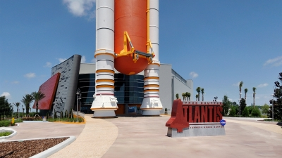 Exterior photo of the custom signage and Orbiter Horizon.