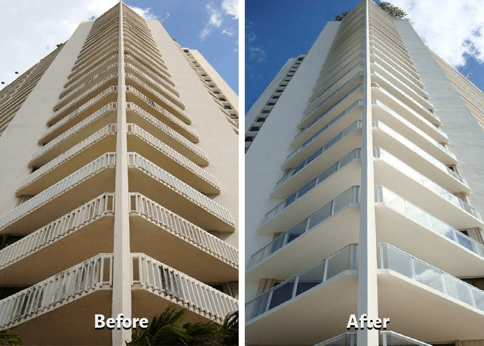 Photo of before-and-after modernization for glass rail balustrade.
