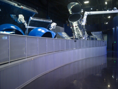 Curving railing design at the Kennedy Space Center.