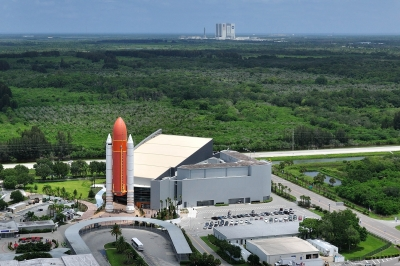 Aerial of the Kennedy Space Center.