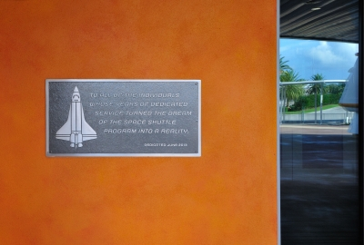Signage at the Kennedy Space Center.