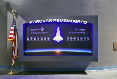 Memorial signage at the Kennedy Space Center.