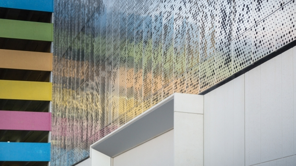 Photo of custom image-perforated metal facade.