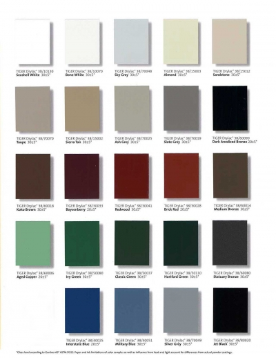 Standard color options for Poma Metals.