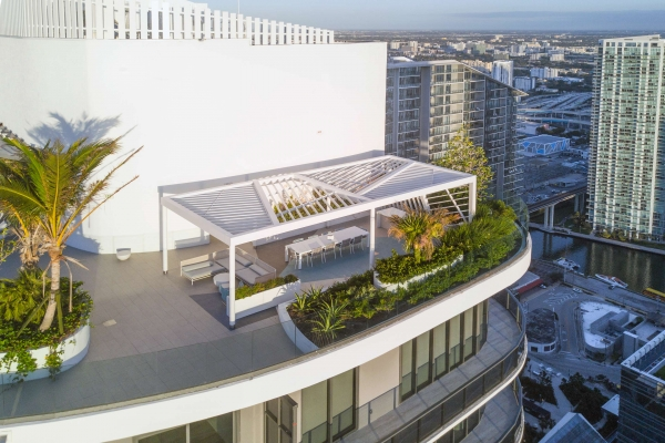 Custom pergola fabrication for Miami's Brickell Towers.