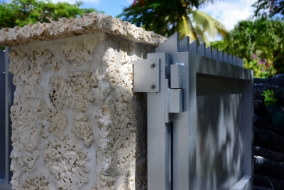 Custom security gate and fence for the ICA Museum in Miami, Florida. Photo by POMA.