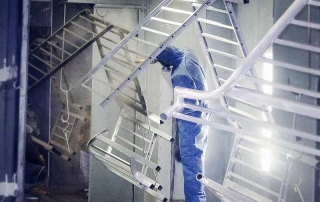 Painting fabrication facility for custom coatings.