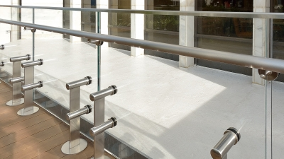 Close-up photo of glass railing system.