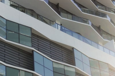 Detail of custom facade and railing by Poma for the Solitair Brickell.