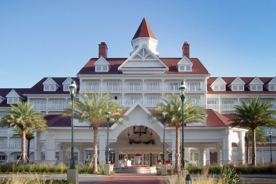 Disney Grand Floridian with custom rail, arches, corbel and gusset details made in aluminum.