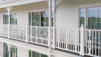 Detail of the Disney Grand Floridian with custom guardrail made by Poma.