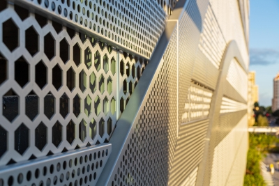 Detail of hexagonal perforated metal design for Parkline Rosemary in West Palm Beach, by Poma.