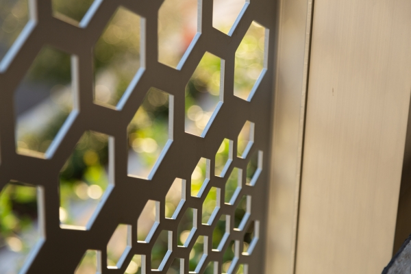 Detail of the perforated metal for Park-line Rosemary in West Palm Beach.