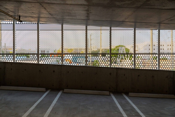 Perforated parking garage for Park-Line Palm Beaches at Brightline West Palm Beach Station
