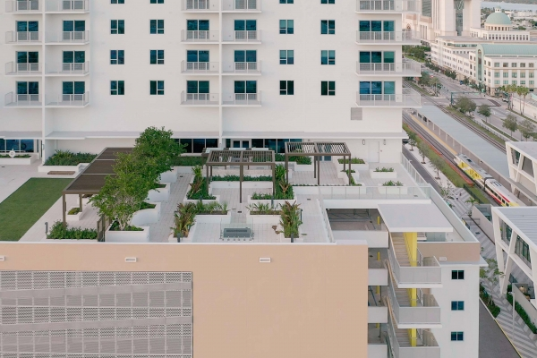 Rooftop Trellises and Cabanas for Park-Line Palm Beaches at Brightline West Palm Beach Station