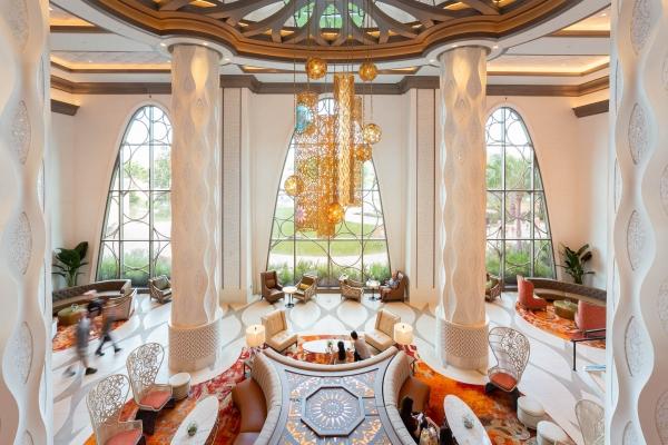 Gran Destino Coronado Springs, Main Foyer, custom perforated metal centerpiece supplied by Poma